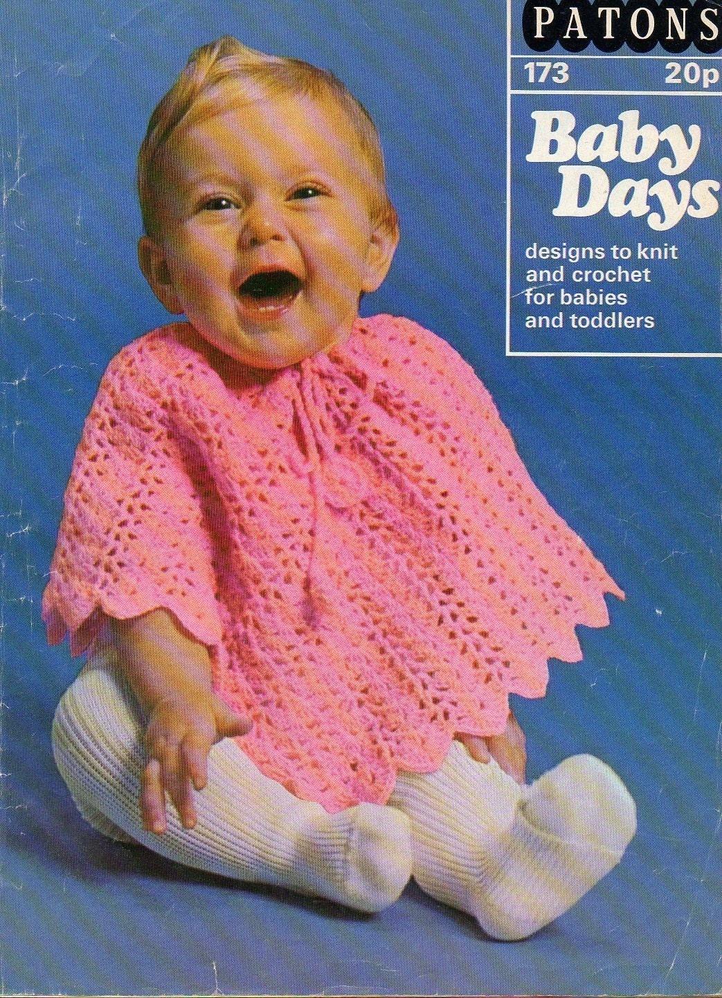 Vintage 1970s Baby Cape Poncho Crochet Pattern Pdf Instant