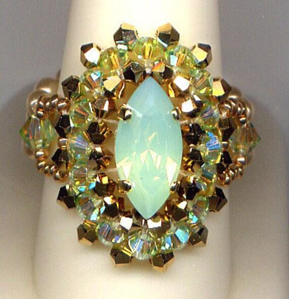 Swarovski Crystal Chrysolite Opal Bling Ring