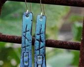 Shades of Blue Sgraffito Enamel Dangle Earrings