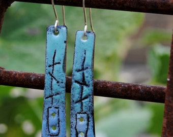 Shades of Blue Sgraffito Enamel Dangle Earrings