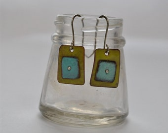 Green Enamel Squares with Blue Square Earrings