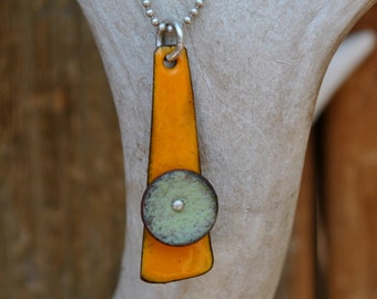 Orange Enamel Necklace  with Blue Disc  on Sterling Silver Ball Chain
