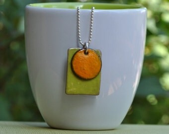 Bitter Green with Orange Circle Enamel Necklace