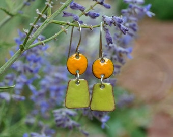 Green and Orange Enamel Dangle Earrings