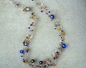 Fine Silver and Shades of Blue and Gold Necklace