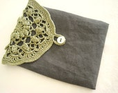 Linen Crochet Little Pouch, iPhone/mobile Phone Sleeve, Personal Women's Care - N2