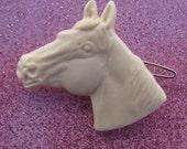 Vintage Horse Barrette - Ivory