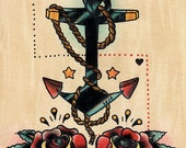 Anchor and Roses old school tattoo style print of watercolour painting on Giclée