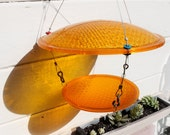 repurposed Bird Feeder, Slow Down, eco friendly, Yellow traffic light birdfeeder upcycled
