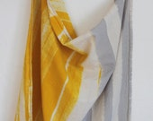 Unbleached flour sack dish towel primary saffron yellow and mist grey hand painted stripes natural cotton kitchen cloth