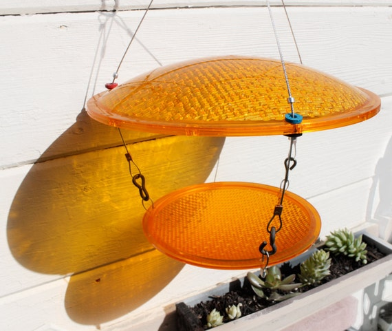 repurposed Bird Feeder, Slow Down, eco friendly, Yellow traffic light birdfeeder upcycled