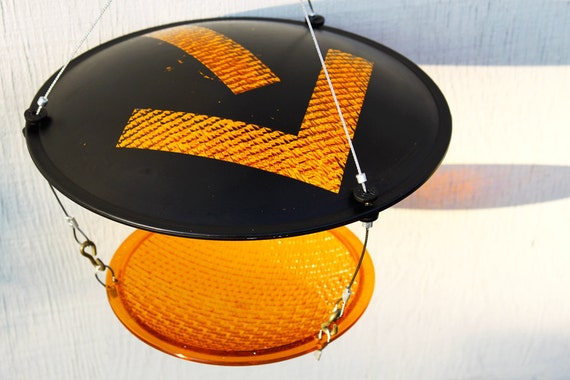 Eco Friendly Bird feeder yellow arrow traffic light recycled upcycled modern birdfeeder