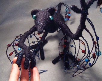Sebian, OoaK poseable crocheted and beaded dragon