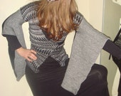 Sweater Knit Wrap Around PatternedKimono