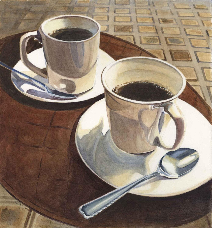 Original coffee cups watercolor painting art by kathyjurek for Coffee watercolor
