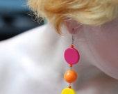Pink, Yellow and Orange Mod Earrings