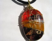 Dichroic fused glass orange brown amber pendant necklace wirewrapped