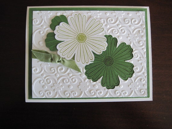 Green and White Flowers Embossed Handmade Greeting Card