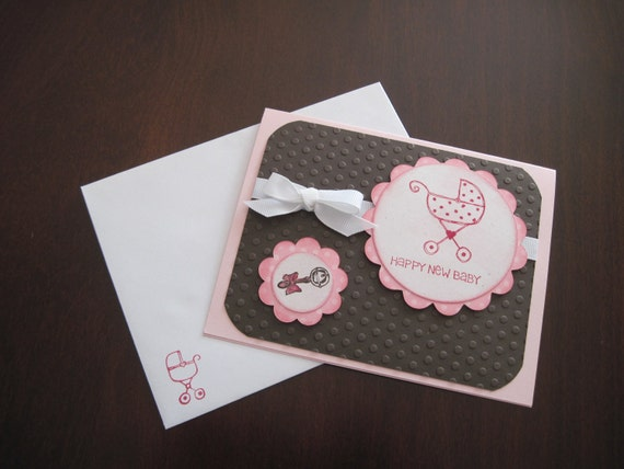Welcome New Baby Greeting Card Handmade Pink Brown Baby Shower