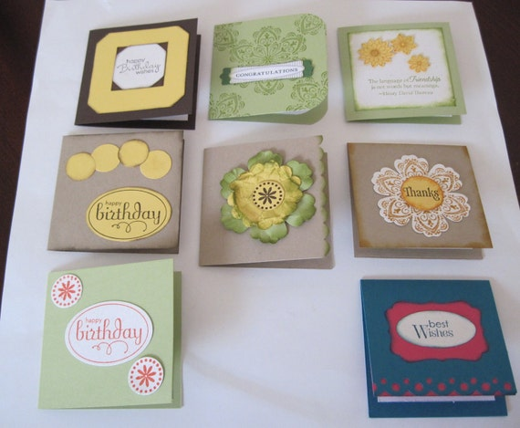 All Occasion  Set of 8 Handmade  3 x 3  Mini Gift Cards and Envelopes