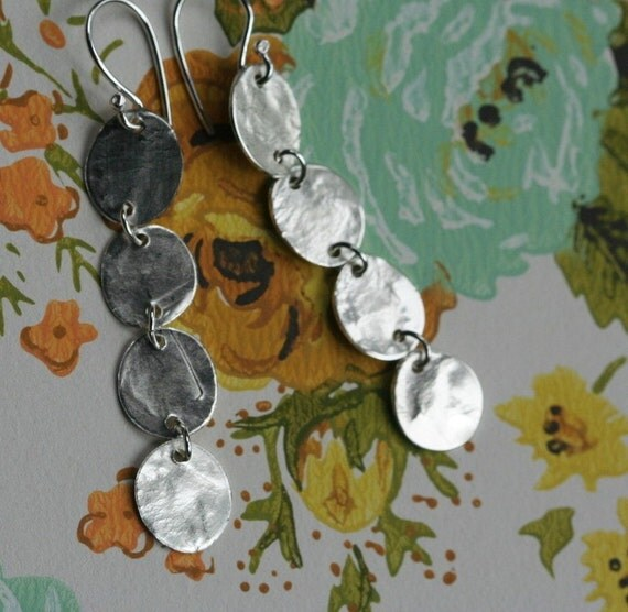 stepping stone dangles sterling silver earrings
