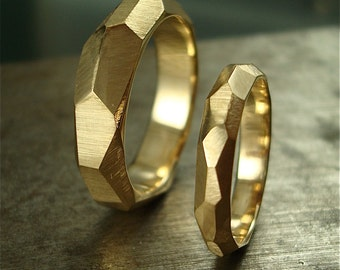 14k gold Chiseled Ring Set - Made to Order