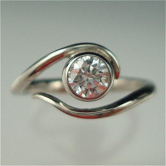 Items similar to Sterling Engagement Vine Ring w/ Moissanite on Etsy