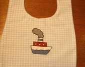 Bue  Gingham Check Flannel Baby Bib - Embroidered Steam Boat