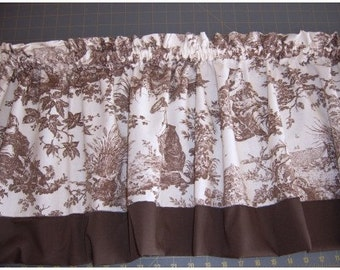 BROWN TOILE CURTAIN VALANCE
