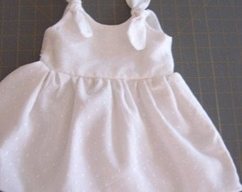 WHITE DOTTED-SWISS INFANT BABY DRESS, 1-3 MONTHS