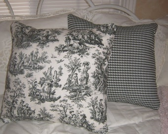Accent Pillow Cover Set of Two - Black Toile