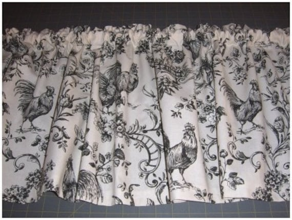 Rooster Curtain Valance Red And Ivory