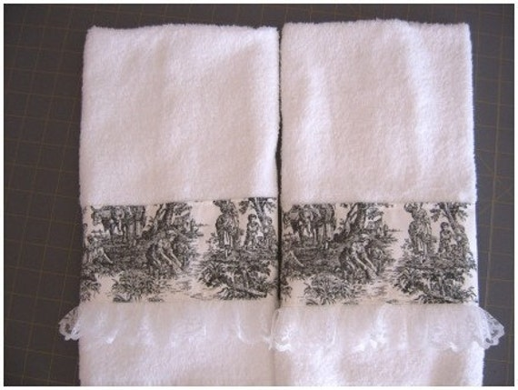 Toile Trimmed Hand Towel Set Of Two Black Red Blue Or