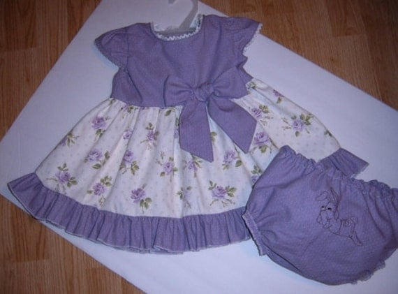 Infant Baby Dress - Orchid Dot Dress with Roses - Bunny Bloomers