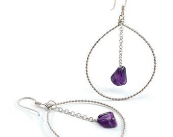 Amethyst, Sterling Silver Hoop Earrings. Amethyst, Sterling Silver Dangle, Twisted Wire Hoop Earrings. Beaded Gem Hoops. February Birthstone