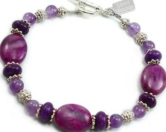 Amethyst Sugilite Jasper Bracelet Amethyst Sugilite Jasper Sterling Silver Beaded Bracelet Bali Silver Gemstone Bracelet February Birthstone