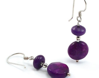 Sugilite Jasper Earrings. Sugilite Jasper, Sterling Silver, Beaded, Dangle Earrings. Purple Dangle Earrings. Wirewrapped, Beaded Earrings.