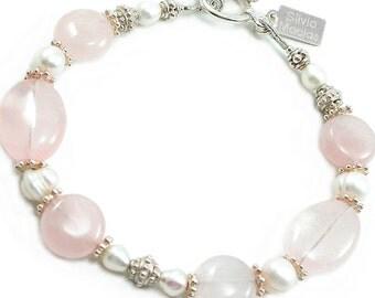 Pink Rose Quartz, Pearl, Silver Bracelet. Rose Quartz, Freshwater Pearl, Sterling Silver, Beaded Bracelet. Bridal Jewelry. June Birthstone