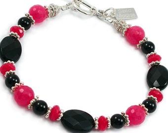 Black Onyx Ruby Red Jade Bracelet. Black Onyx, Ruby Red Jade Sterling Silver, Beaded Bracelet. Bali Silver Gemstone Bracelet. December Stone
