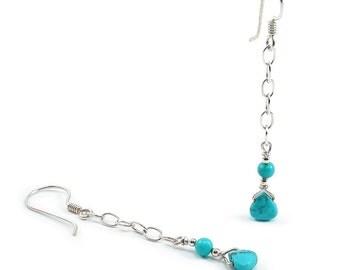 Turquoise Dangle Earrings. Turquoise Briolette, Sterling Silver, Wrapped, Dangle Earrings. Wire Wrapped Chain Earrings. December Birthstone