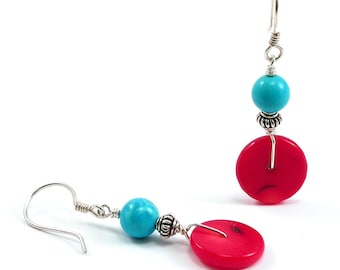 Turquoise Red Coral Earrings. Turquoise Sterling Silver Red Coral Wrapped Dangle Earrings Bali Silver Gemstone December Birthstone Southwest