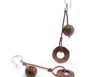 Unakite, Copper Pendulum Dangle Earrings. Unakite, Copper, Sterling Silver Pendulum Dangle Earrings. Copper Disc Earrings. Wirewrapped Stone