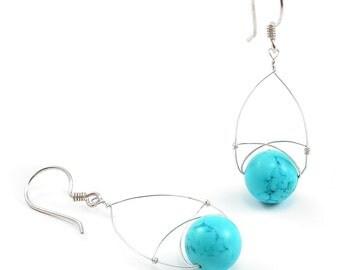 Turquoise, Silver, Oval Drop Earrings Turquoise, Sterling Silver Wire Wrapped Tear Drop Oval Hoop, Beaded Boho Earrings. December Birthstone