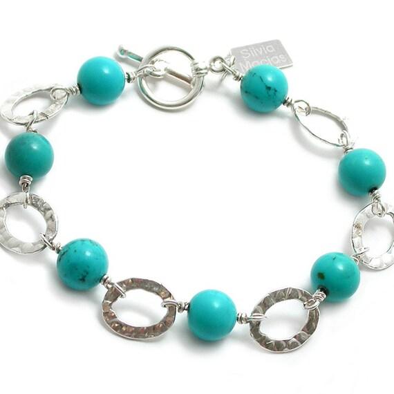 Turquoise, Sterling Silver Link Bracelet. Turquoise, Sterling Silver Wire Wrapped Fused Link Bracelet. Gemstone Bracelet December Birthstone