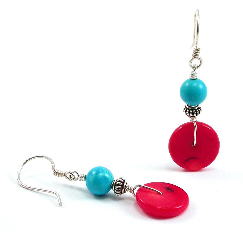 turquoise coral earrings turquoise sterling silver