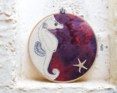 Seahorse and Starfish Embroidered Hoop Wall Hanging