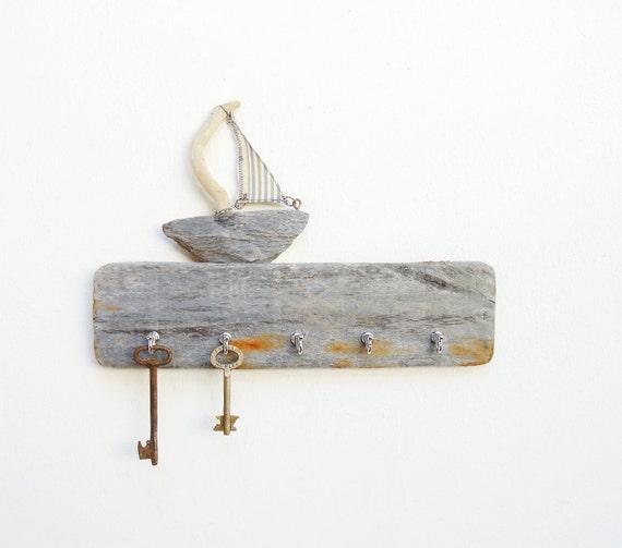 Drift Away - Key Holder Rack, Jewelry Organizer Rack - Driftwood, Textile, Metal