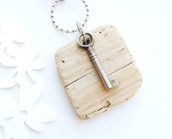 Steampunk Driftwood Keychain / Bag Ring
