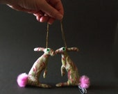 Baby Hares tiny companion Ornaments and Decoration Soft Sculptures  RESERVED for Diane
