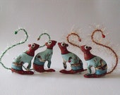 Baby Squirrel tiny companion Ornament and Decoration Soft Sculpture with Gold Eyes and green tail no2